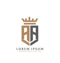 elegant wordmark aa initial shield crown logo vector image