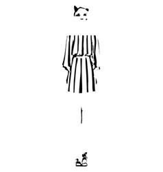 Fashion animal woman model sketch girl in dress vector