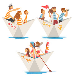 Fathers mothers and kids in striped t-shirts vector