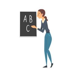 female teacher standing beside chalkboard and vector image