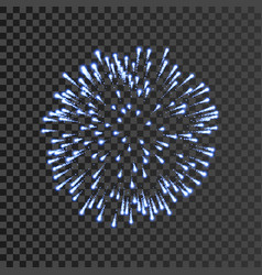 Firework blue bursting isolated transparent vector