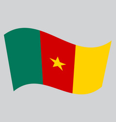 Flag of cameroon waving on gray background vector