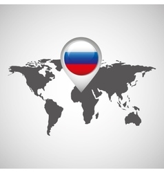 flag russia pin map design isolated vector image