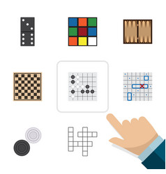 flat icon entertainment set of chess table sea vector image