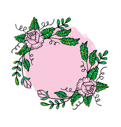 floral frame with rose wreath vector image