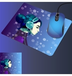 girl listening music in headphines vector image