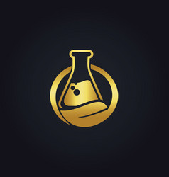 Gold bio organic lab logo vector