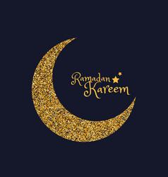 Golden eid moon ramasan season vector