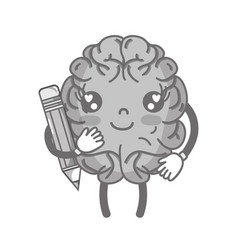 Grayscale kawaii happy brain with pencil tool vector
