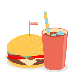 hamburger with soda vector image