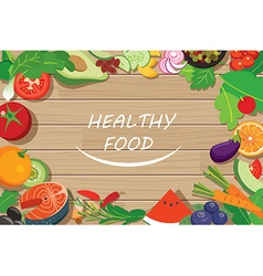 healthy food frame on wood table vector image