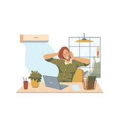 Heat in office woman at workplace air conditioner vector
