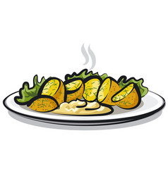Hot boiled potatoes vector
