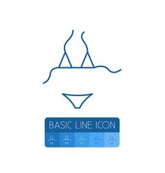 Isolated bikini outline beachwear element vector