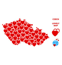 lovely czech map collage of hearts vector image