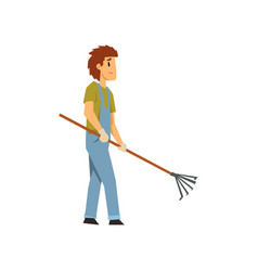 Male farmer with pick fan scraper farm worker vector