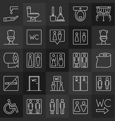 man and woman toilet icons in thin line style wc vector image