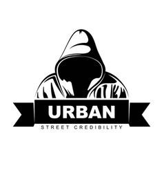 man in hoodie hooded logo design urban vector image