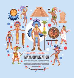 maya civilization flat background vector image