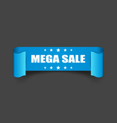 Mega sale ribbon icon discount sticker label on vector