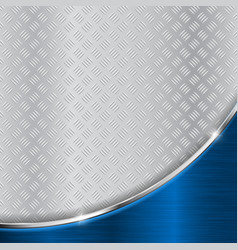 Metallic surface with blue shiny curved element vector