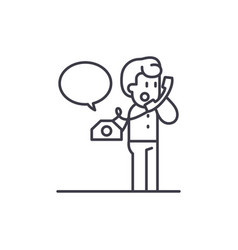 Negotiations on the phone line icon concept vector