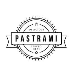 Pastrami sandwich vintage stamp vector