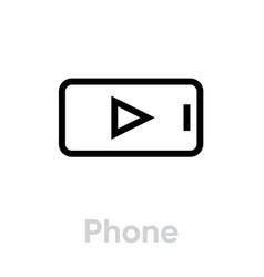 phone video tv icon editable line vector image