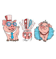 pigs dressed in costumes vector image