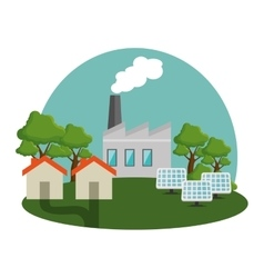 Plant energy factory icon vector
