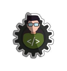 programmer man faceless glasses vector image