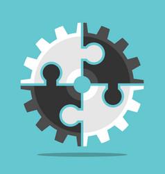 puzzle cog teamwork concept vector image
