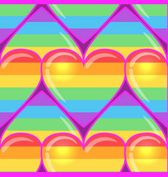 rainbow hearts gay pride flag colored colored vector image