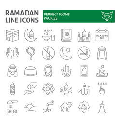 Ramadan thin line icon set islamic symbols vector