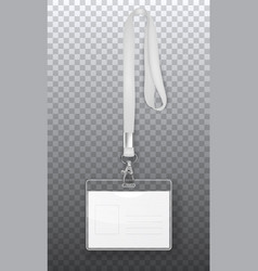 realistic 3d empty graphic id card badge vector image