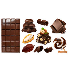 Realistic chocolate chocolate bar candy pieces vector