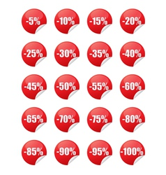 Red discount stickers vector image