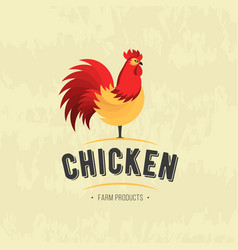 Rooster icon cock poultry farm fresh sign vector