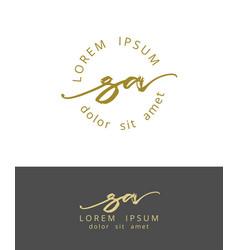 s a handdrawn brush monogram calligraphy logo vector image