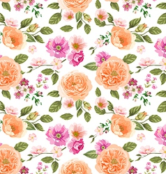 Seamless pattern pink roses vector