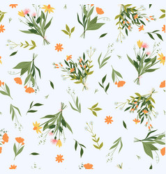 Seamless pattern with bouquets wildflowers vector