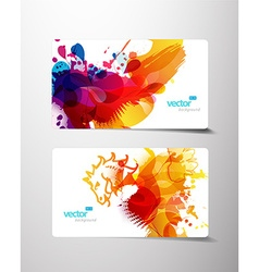 set abstract colorful splash gift cards vector image