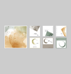set hand-painted watercolor earth tone square vector image