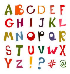 set of doodle letters alphabet vector image