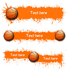 set of hand drawn grunge banners with basketball vector image