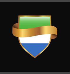 Sierra leone flag golden badge design vector