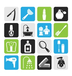 Silhouette body care and cosmetics icons vector image