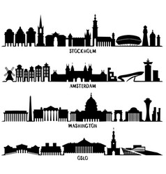 Silhouette stockholm amsterdam washington oslo vector