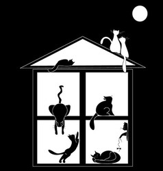 Silhouettes of cats in the house on black vector image