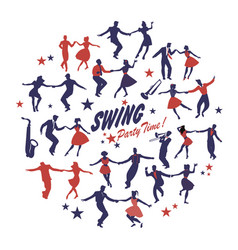Silhouettes of swing dancers isolated forming vector